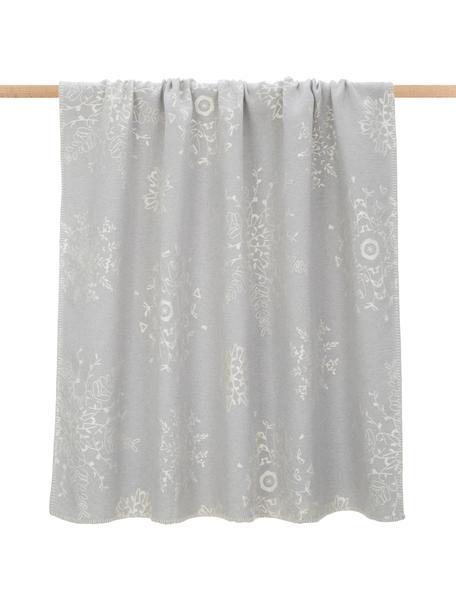 Plaid Diva mit Schneeflockenmotiv in Grau, leicht glänzend, Bezug: 85% Baumwolle, 8% Viskose, Grau, Beige, 140 x 220 cm