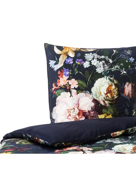 Katoenen dekbedovertrek Fleur, Donkerblauw, 140 x 220 cm