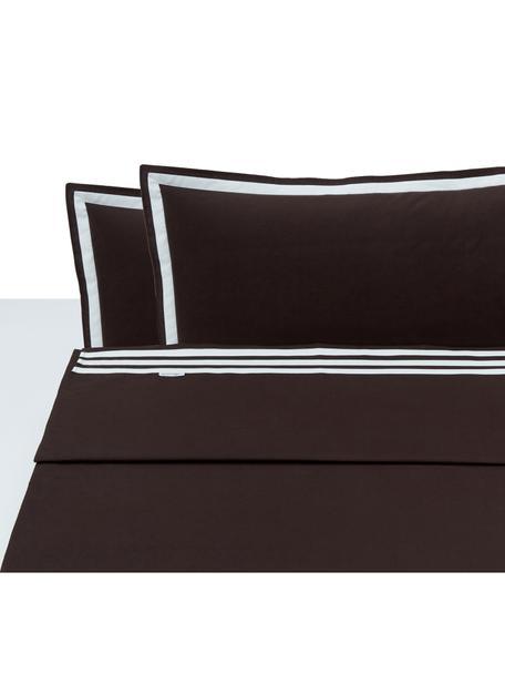 Set lenzuola in cotone Hilton, Cotone, Marrone, bianco, 250 x 290 cm