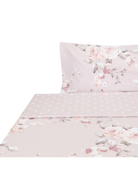 Sábana encimera Canterbury, Algodón, Tonos rosas, gris, blanco, Cama 90 cm (155 x 280 cm)