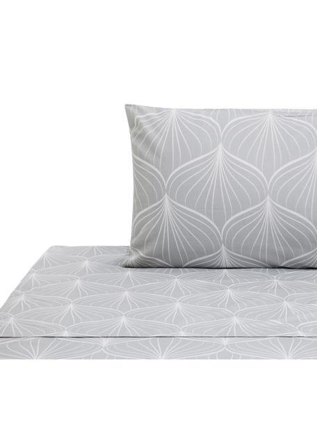 Set lenzuola in cotone Rama, Cotone, Grigio, bianco, 160 x 200 cm