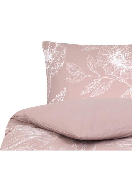 Baumwollperkal-Bettwäsche Keno mit Blumenprint, Webart: Perkal Fadendichte 180 TC, Altrosa, Weiss, 135 x 200 cm + 1 Kissen 80 x 80 cm