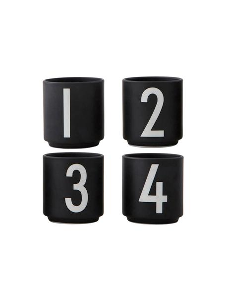Set 4 tazzine da caffè di design con numeri 1234, Fine Bone China (porcellana) Fine bone china è una porcellana a pasta morbida particolarmente caratterizzata dalla sua lucentezza radiosa e traslucida, Nero, bianco, Ø 5 x Alt. 6 cm