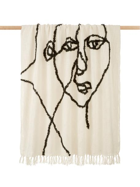 Manta Face, 100%algodón, Marfil, negro, An 130 x L 170
