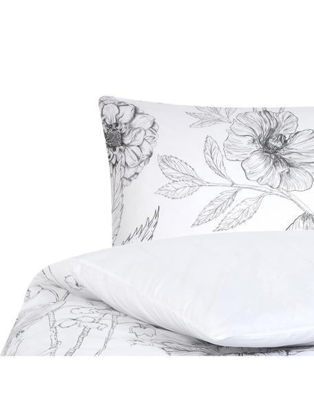 Baumwollperkal-Bettwäsche Keno mit Blumenprint, Webart: Perkal Fadendichte 180 TC, Weiss, Grau, 135 x 200 cm + 1 Kissen 80 x 80 cm
