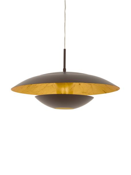 Hanglamp Nuvano in bruin, Bruin, goudkleurig, Ø 48 x H 18 cm