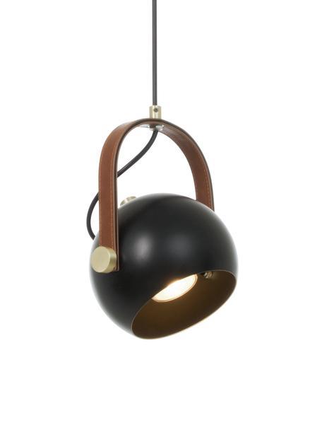 Kleine Pendelleuchte Bow mit Leder-Dekor, Schwarz, 19 x 20 cm