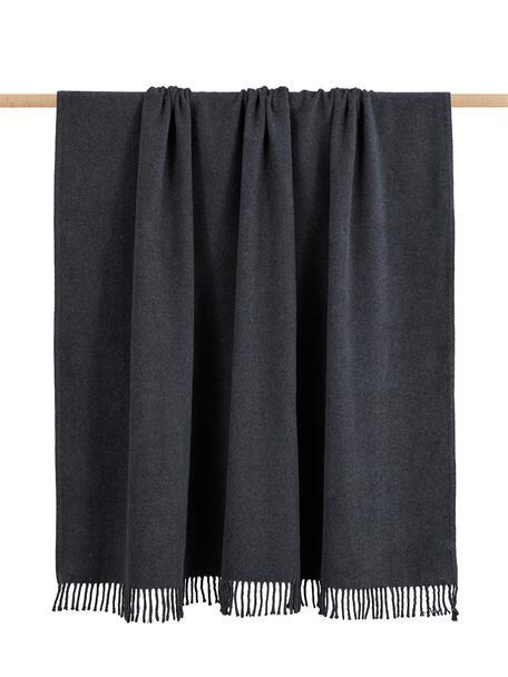Manta con flecos Plain, 50%algodón, 50%acrílico, Gris oscuro, An 140 x L 180 cm