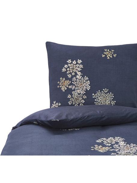 Baumwollsatin-Bettwäsche Lauren mit Blüten-Muster, Webart: Satin Baumwollsatin wird , Dunkelblau, 135 x 200 cm + 1 Kissen 80 x 80 cm