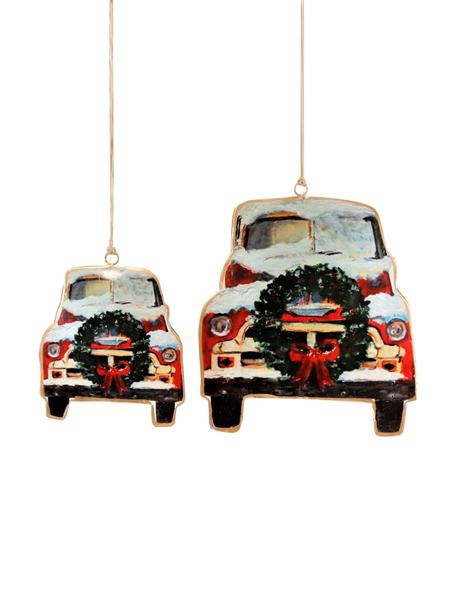 Baumanhänger-Set Cars, 2-tlg., Metall, Rot, Schwarz, Weiss, Set mit verschiedenen Grössen