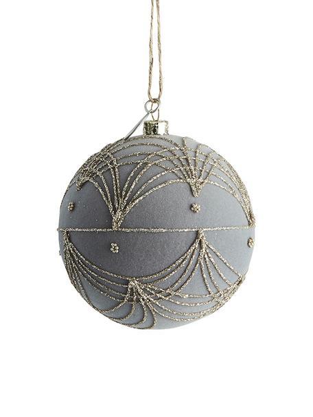 Weihnachtskugel Jalia Ø8cm, Kunststoff, Polyestersamt, Grau, Goldfarben, Ø 8 cm