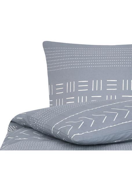 Gewaschene Baumwoll-Bettwäsche Kohana im Boho Style, Webart: Perkal Fadendichte 180 TC, Grau, Ecru, 135 x 200 cm + 1 Kissen 80 x 80 cm