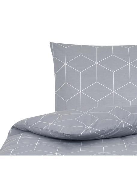 Funda nórdica de tejido renforcé Lynn, Gris, blanco crema, Cama 90 cm (150 x 220 cm)
