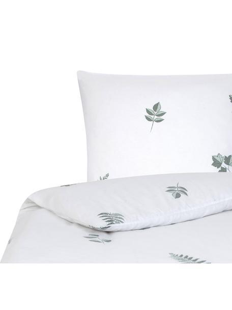 Flanell-Bettwäsche Fraser mit winterlichem Blattmuster, Webart: Flanell Flanell ist ein k, Salbeigrün, Weiss, 135 x 200 cm + 1 Kissen 80 x 80 cm