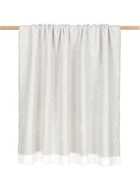 Manta Tigre, 50%algodón, 50%acrílico, Gris claro, blanco crudo, An 140 x L 180 cm