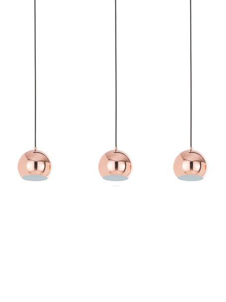 Kugel-Pendelleuchte Ball in Kupfer, Baldachin: Metall, lackiert, Kupfer, hochglanz, Schwarz, matt, 100 x 168 cm