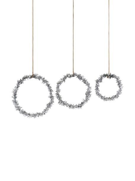 Decoratieve hangersset Laurel, 3-delig, Polystyreen, kunststof, metaal, hout, Zilverkleurig, Set met verschillende formaten