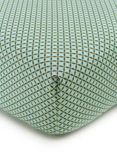 Fein gemustertes Baumwollperkal-Spannbettlaken Cross Stitch, Webart: Perkal Fadendichte 200 TC, Mintgrün, Dunkelgrün, Blau, 140 x 200 cm