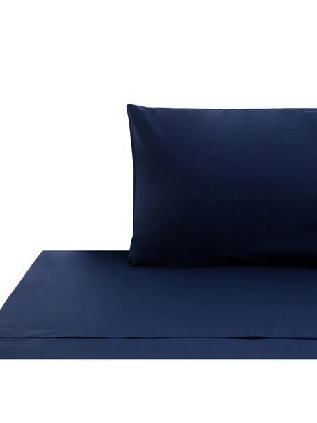 Set lenzuola in cotone ranforce Lenare, Tessuto: ranforce, Fronte e retro: blu scuro, 150 x 290 cm