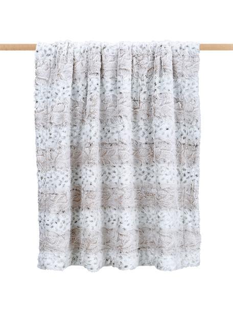 Kuscheldecke Vilnius aus Kunstfell, 100% Polyester, Cremefarben, Grau, Weiss, 125 x 150 cm