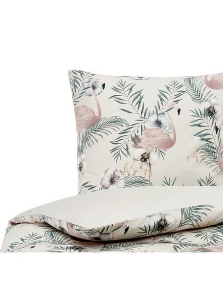 Pościel z satyny bawełnianej Elliana, Beżowy, blady różowy, zielony, 135 x 200 cm + 1 poduszka 80 x 80 cm