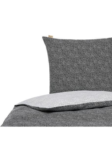 Flanell-Wendebettwäsche Dots & Doodles, gemustert, Webart: Flanell Flanell ist ein s, Anthrazit, Weiß, 135 x 200 cm + 1 Kissen 80 x 80 cm