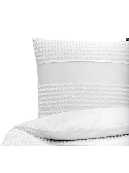 Baumwoll-Bettwäsche Endure mit getufteter Verzierung, 100% Baumwolle Fadendichte 144 TC, Standard Qualität Bettwäsche aus Baumwolle fühlt sich auf der Haut angenehm weich an, nimmt Feuchtigkeit gut auf und eignet sich für Allergiker, Weiss, 135 x 200 cm + 1 Kissen 80 x 80 cm