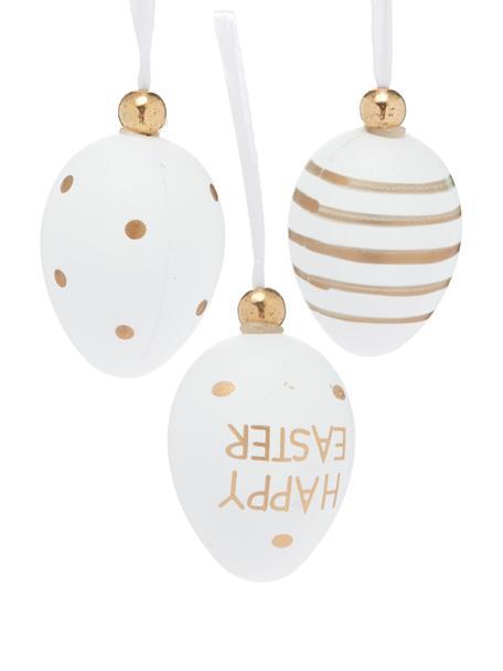 Deko-Anhänger-Set Happy Easter, 6-tlg., Kunststoff, Weiß, Goldfarben, Ø 3 x H 4 cm