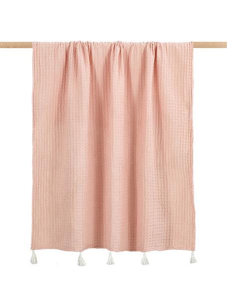 Manta estructura gofre Gopher, 100%algodón, Rosa pálido, An 125 x L 150 cm