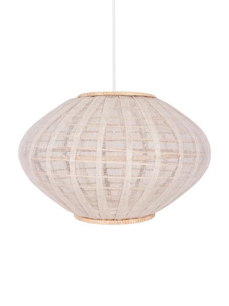 Lampa wisząca z rattanu i lnu Borneo, Beżowy, złamana biel, Ø 43 x W 26 cm