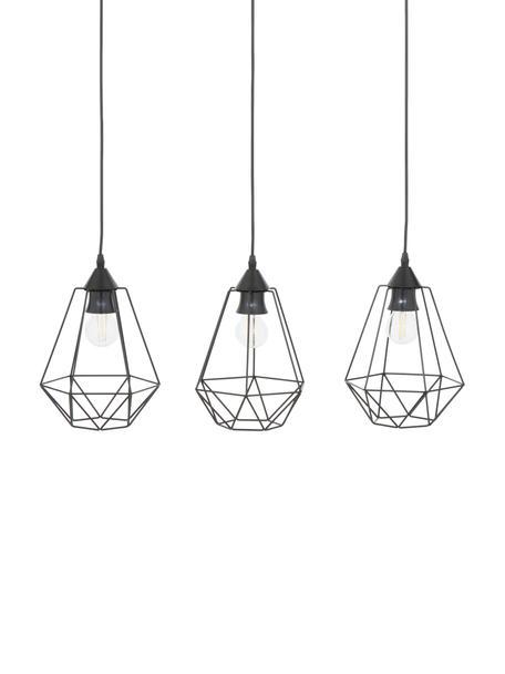 Lámpara de techoWire, estilo industrial, Anclaje: metal, Pantalla: metal, Negro, An 75 x Al 25 cm