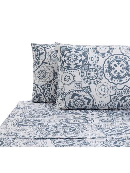 Set lenzuola in cotone Morris, Cotone, Fronte: blu, bianco Retro: bianco, 240 x 270 cm