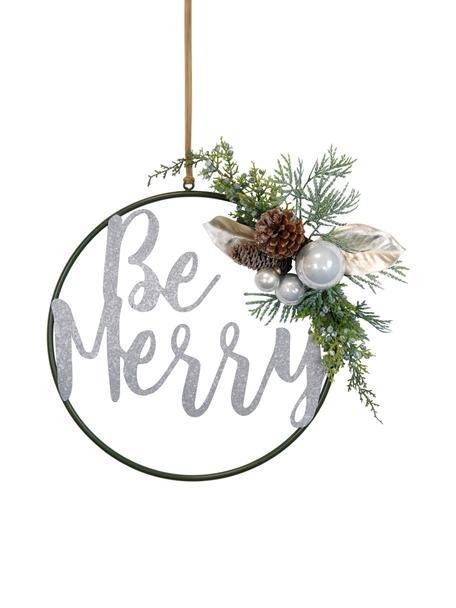 Decoratieve hanger Be Merry , Metaal, kunststof, kegel, Groen, bruin, wit, Ø 36 cm