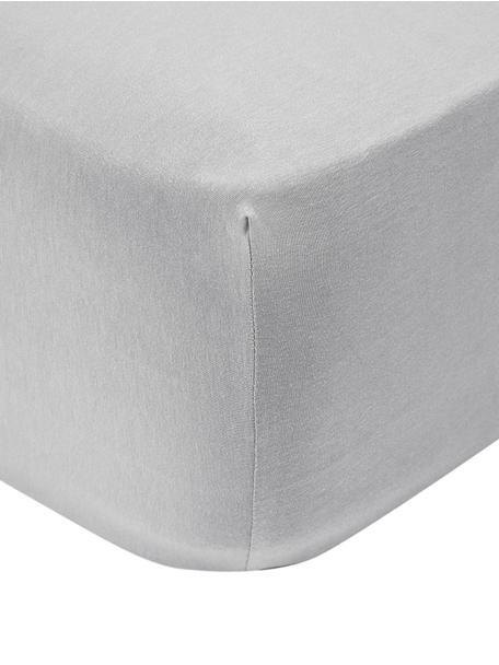 Jersey boxspring hoeslaken Lara, 95% katoen, 5% elastaan, Lichtgrijs, 90 x 200 cm