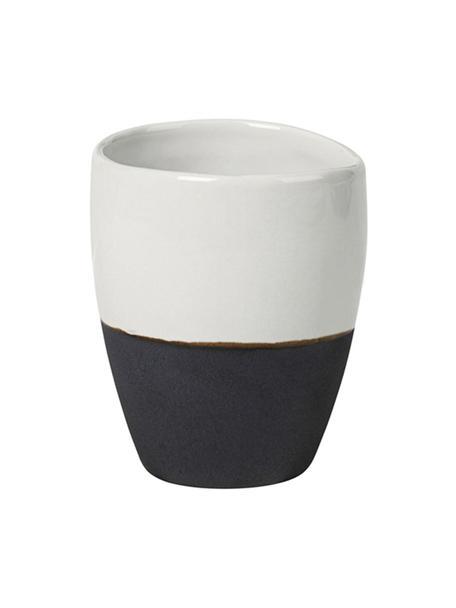 Handgemaakte espressobekers Esrum mat/glanzend, 4 stuks, Bovenzijde: glad geglazuurde keramiek, Onderzijde: natuurlijke keramiek, Ivoorkleurig, grijsbruin, 100 ml