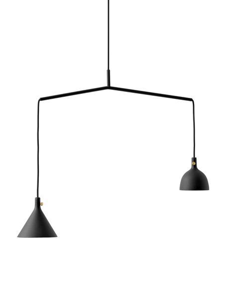 Pendelleuchte Cast aus Metall, Lampenschirm: Aluminium, beschichtet, M, Baldachin: Metall, pulverbeschichtet, Schwarz, 66 x 32 cm