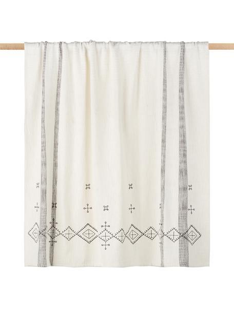 Manta bordada Slub, estilo étnico, Algodón, Blanco crudo, negro, An 130 x L 170 cm