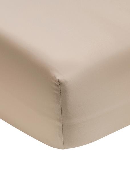 Sábana bajera de satén Premium, Gris pardo, Cama 90 cm (90 x 200 cm)