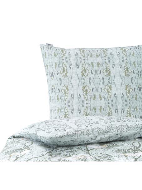 Pościel z bawełny Chinoiserie, Odcienie zielonego, 135 x 200 cm + 1 poduszka 80 x 80 cm