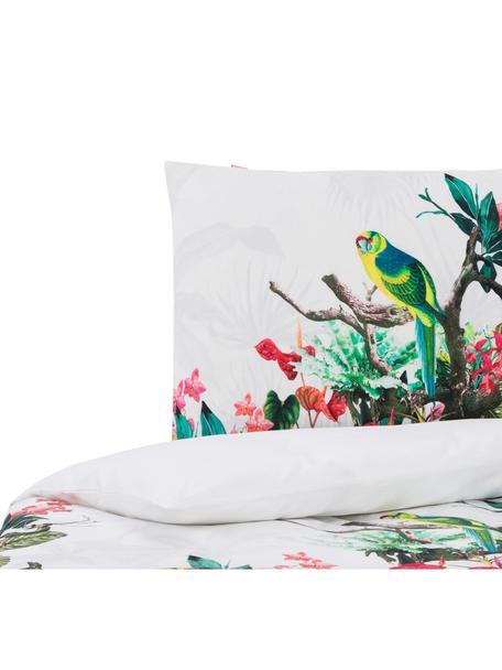 Dubbelzijdig dekbedovertrek Tropic, Katoen, Bovenzijde: wit, multicolour. Onderzijde: wit, 140 x 200 cm