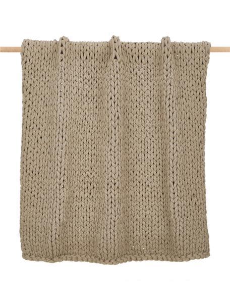 Plaid a maglia grossa beige Adyna, 100% poliacrilico, Beige, Larg. 130 x Lung. 170 cm