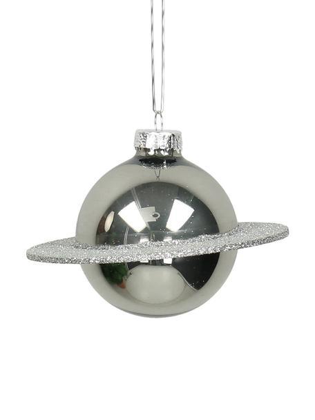 Baumanhänger Planet, 2 Stück, Silberfarben, Ø 10 cm