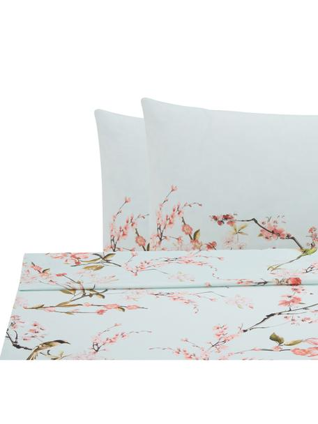 Set lenzuola in cotone ranforce Chinoiserie, Tessuto: ranforce, Verde, rosa, 240 x 270 cm