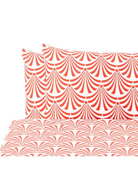 Set lenzuola in cotone Crone, Cotone, Rosso salmone, bianco, 240 x 270 cm