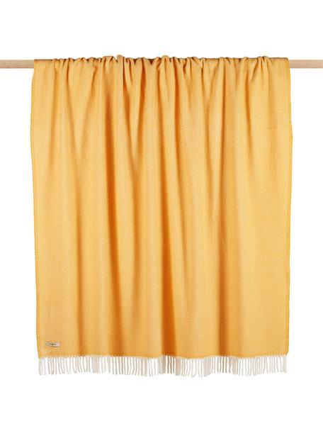 Manta con flecos Skyline, 50%algodón, 50%acrílico, Amarillo, blanco crudo, An 140 x L 180 cm