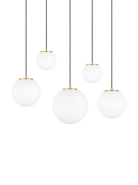 Lampada a sospensione in vetro opale Tsuki, Paralume: vetro opale, Bianco opalino, nero ottonato, Larg. 95 x Alt. 166 cm