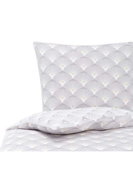 Jersey-Wendebettwäsche Ginkgo mit Muster, Webart: Jersey Jersey ist ein kli, Grau, Weiss, 135 x 200 cm + 1 Kissen 80 x 80 cm