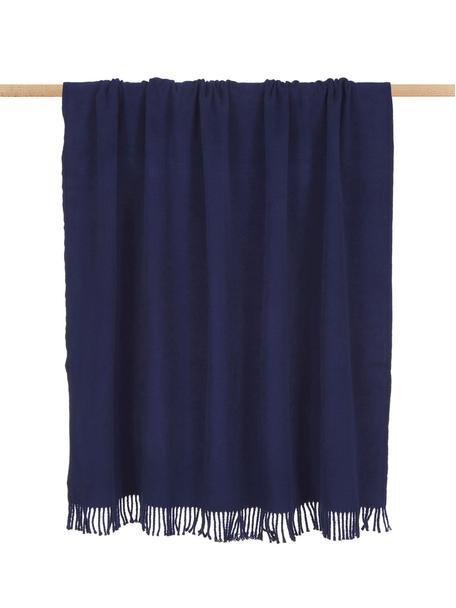 Manta con flecos Plain, 50%algodón, 50%acrílico, Azul oscuro, An 140 x L 180 cm