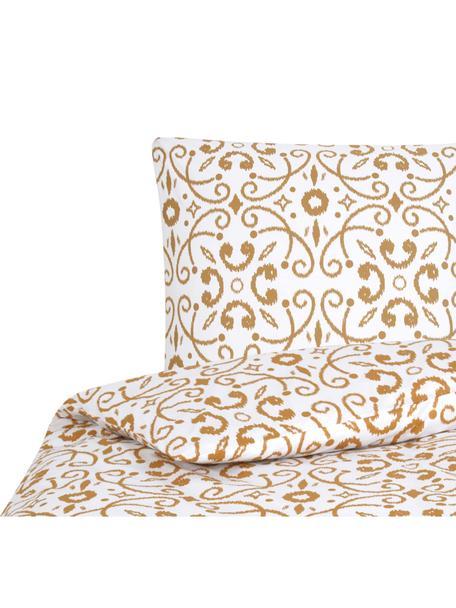 Pościel z perkalu Ashley, Biały, musztardowy, 135 x 200 cm + 1 poduszka 80 x 80 cm