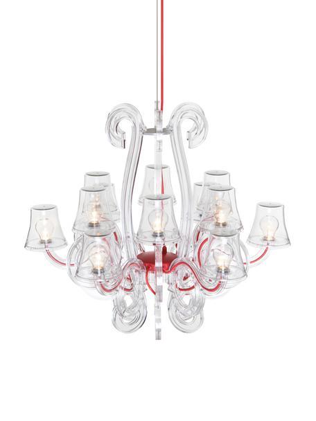 LED Außenkronleuchter RockCoco, Rot, Transparent, Ø 78 x H 67 cm